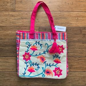 Hot Pink Vibrant Embroidered Rhinestone Tote Bag